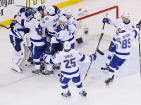 The Lightning celebrate their Game 7 victory against the Rangers