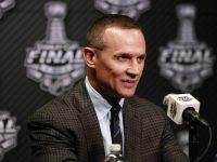 Jun 2, 2015; Tampa, FL, USA; Tampa Bay Lightning  general manager Steve Yzerman talks with media during media day the day before the 2015 Stanley Cup Final at Amalie Arena. Mandatory Credit: Kim Klement-USA TODAY Sports