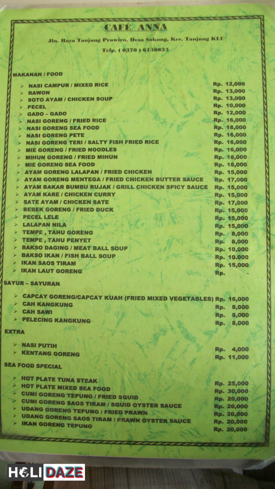 Indonesian food menu with prices
