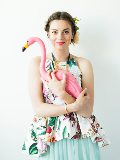 Flamingo Pop. A bridal collaboration with BHLDN and The House That Lars Built. Top from Anthro. Dress from BHLDN. Jewelry from Anthro. Flowers by Tinge. Photo by Jessica Peterson.
