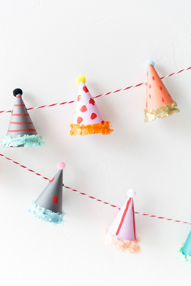 Party hat garland tutorial
