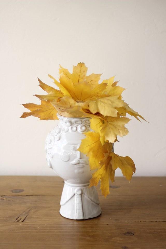 Fall leaf head vase