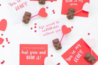 Chocolate covered cinnamon bear valentines