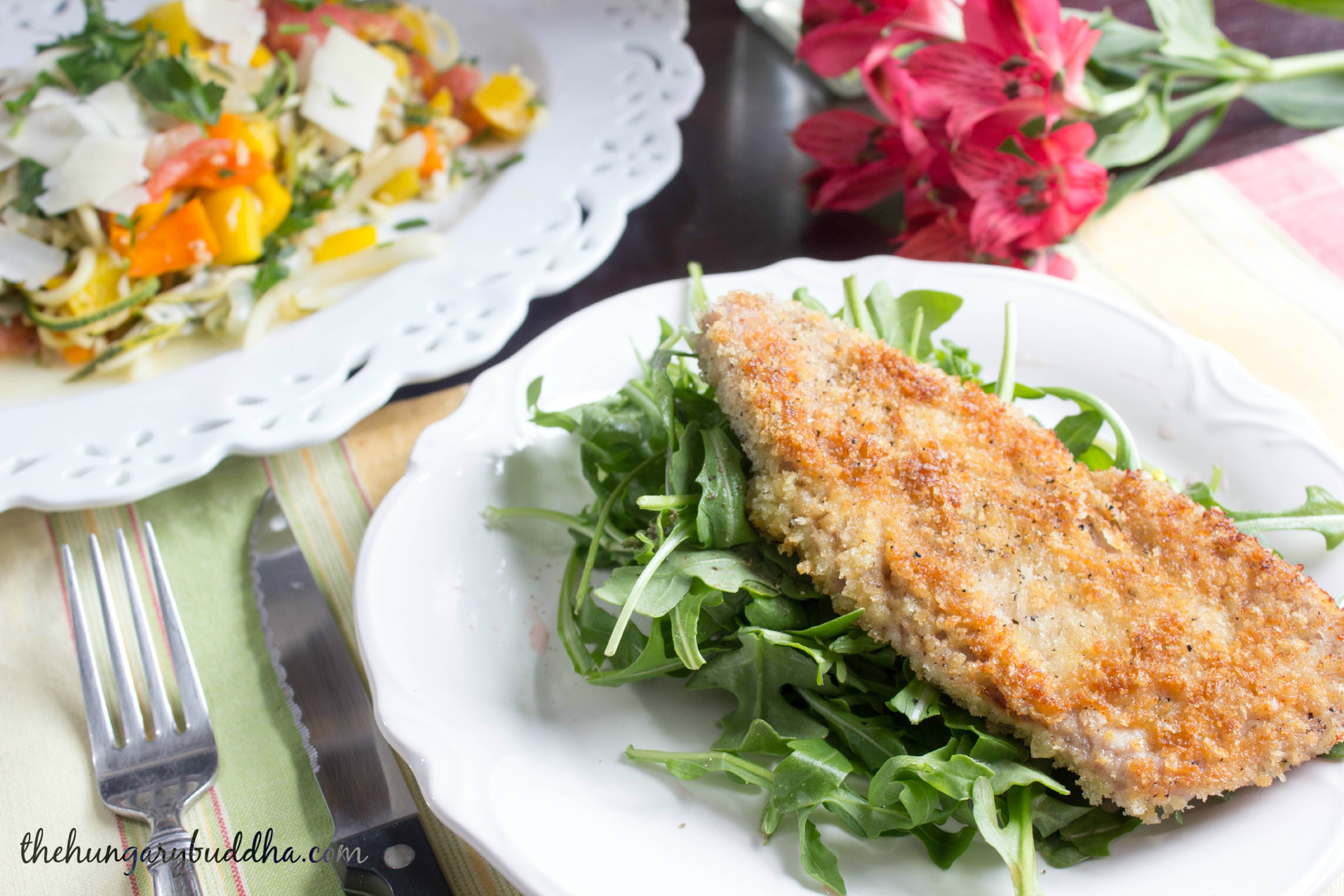 Oodles of Zoodles: Pork Milanese with Warm Summer Zoodles
