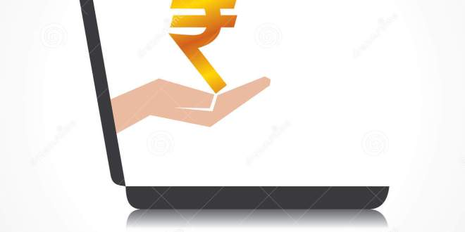 hand-holding-rupee-symbol-comes-laptop-scree-screen-stock-vector-35500061
