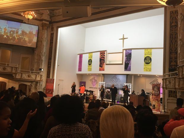 Worshippers attend the 2016 Fall Revival at First Corinthians Baptist Church in Harlem on Tuesday evening. (The Ink/Tiffany Pennamon)