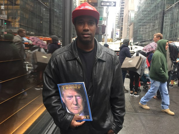 Donald Knoxz was one of the few Trump supporters who showed up at Trump Tower the day after the election.