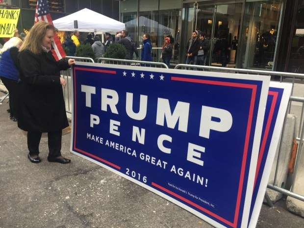 At least 40 people gathered in front of Trump Tower on Sunday Nov. 20th to welcome President-elect, Donald Trump.
