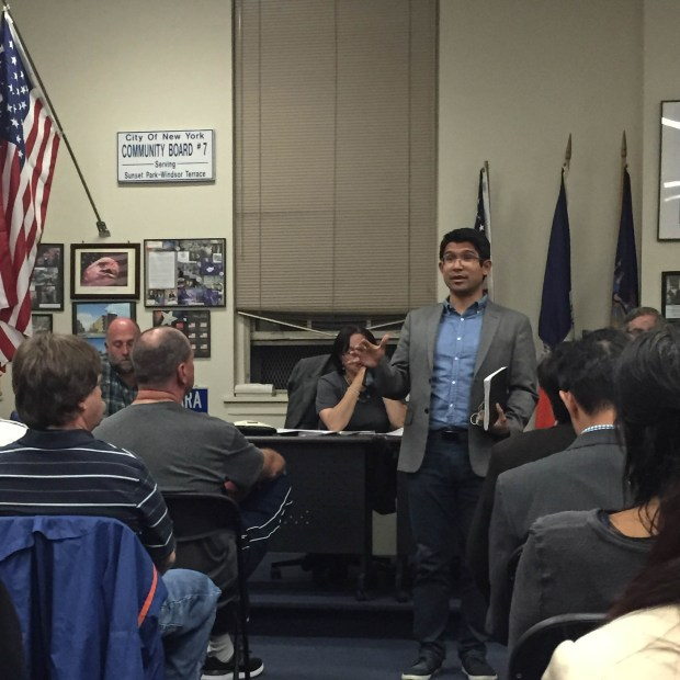 Carlos Menchaca speaks at a Community Board 7 meeting in Sunset Park. (Natasa Bansagi/The Ink)