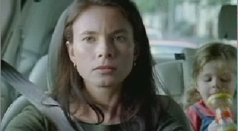 Woman and child in Bloody Volvo Drivers TV Ad