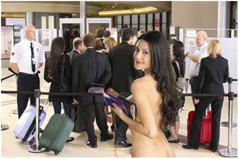 Nude woman in Bluefly airport TV ad