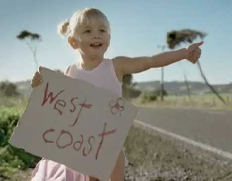 Hitchhiker heading to the West Coast in Hyundai TV ad