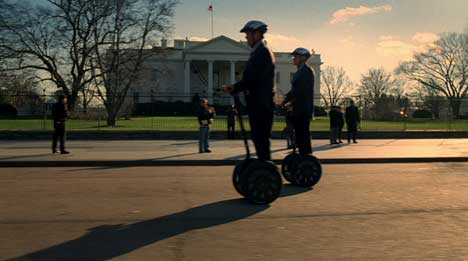Carville and Frist on Segway personal transporters in Coke TV ad
