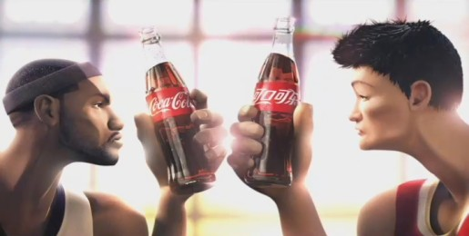 Lebron and Yao in Coca Cola TV commercial