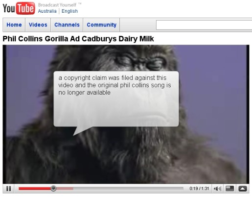 Cadbury Gorilla spot on YouTube without Phil Collins