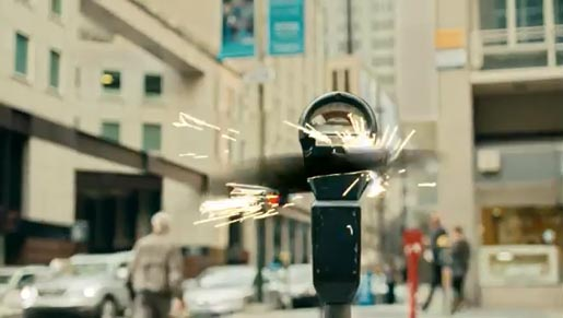 Verizon Droid Razr Slice commercial with parking meter