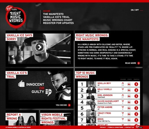 Right Music Wrongs Virgin Mobile site
