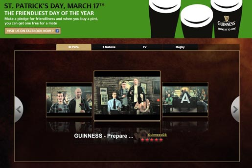 Guinness St Patricks Day promotion on YouTube