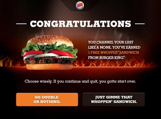 Burger King Whopper Lust Congratulations