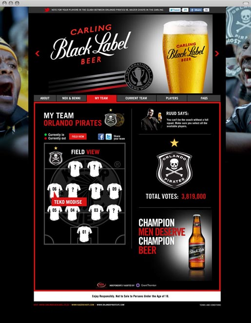 Carling Black Label Be The Coach Microsite