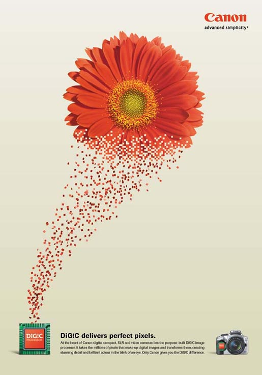 Flower appears in Canon Digic print ad