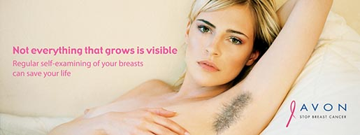 Woman with hairy armpit in Avon breast cancer awareness campaign