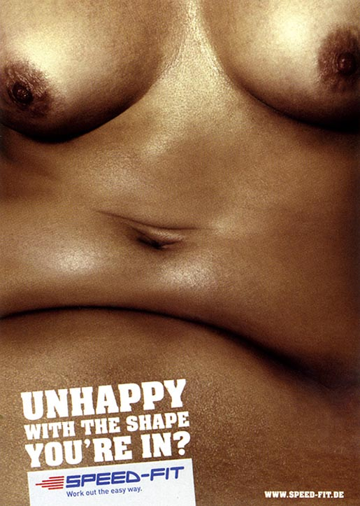 Unhappy belly in Speedfit print ad