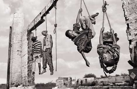 Child soldiers playing by a public hanging in Amnesty International print campaign