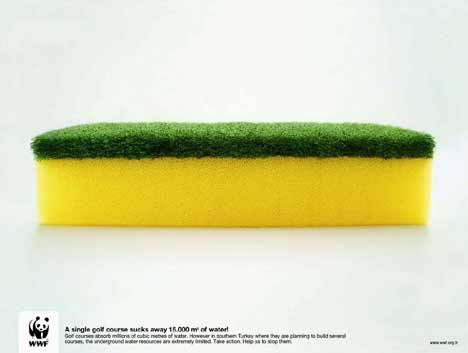 Green and yellow sponge in WWF Golf Course print ad