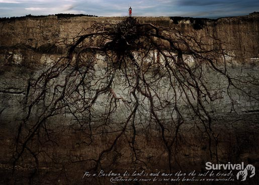African bushman stands over roots in Survival advertisement