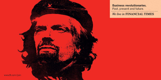 Richard Branson in Che Guevara mode in Financial Times print ad