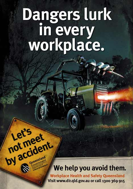 Tractor becomes a menace in workplace print ad