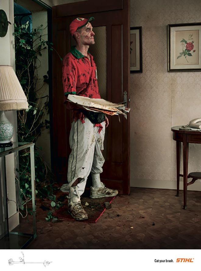 Pizza Delivery Man in Stihl Brushcutter print ad