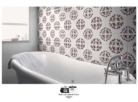 Bathroom tiles covered in roaches in Ridsect Roach Trap print ad