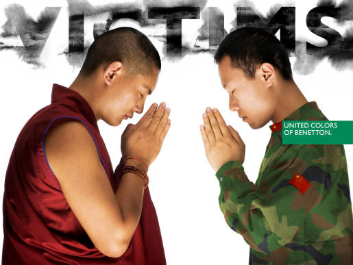 Monk and soldier at prayer in Benetton ad