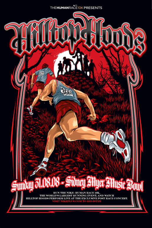 Hilltop Hoods poster for Nike Human Race in Melbourne