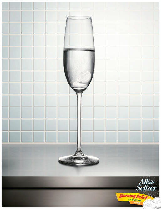 Alka-Seltzer in Champagne glass