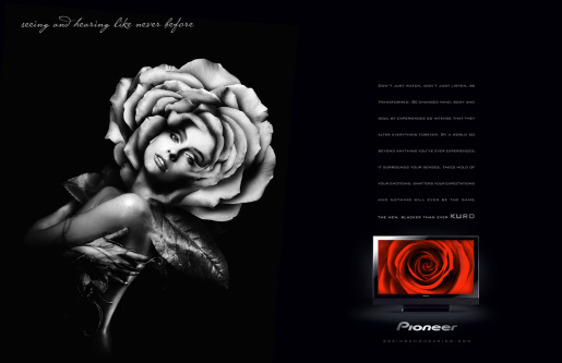 Pioneer Kuro Rose Woman magazine spread advertisement