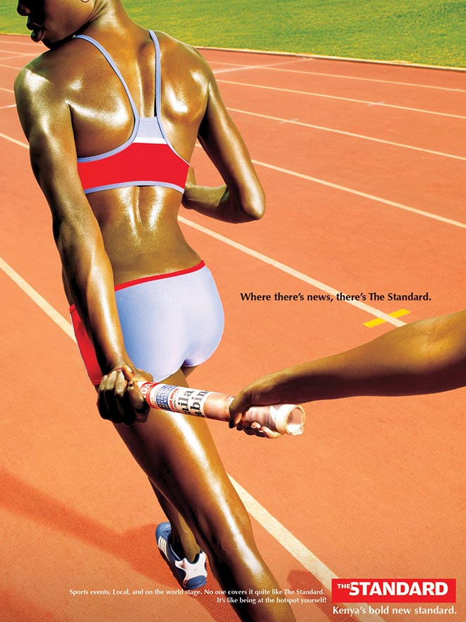 Athletes in relay in The Standard print advertisement