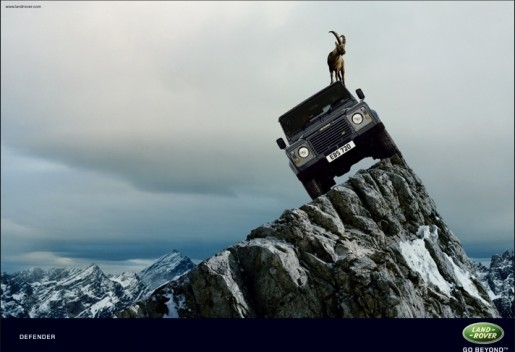 Land Rover Defender and Mountain Goat in print advertisement