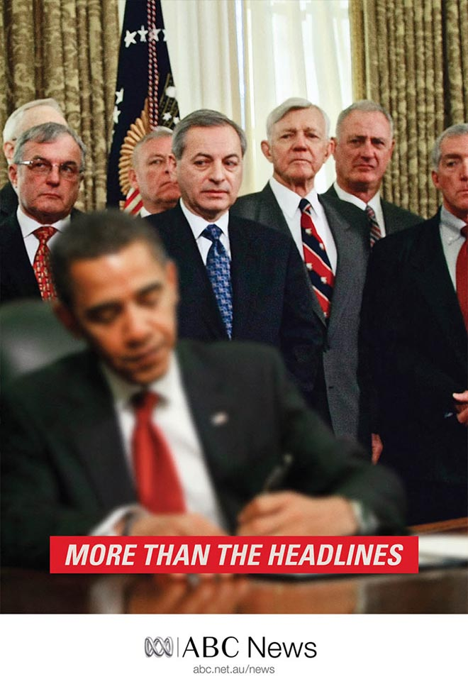 Barack Obama and witnesses in ABC News print advertisement