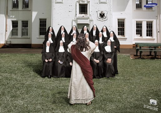 Samsung Jesus and Nuns photograph