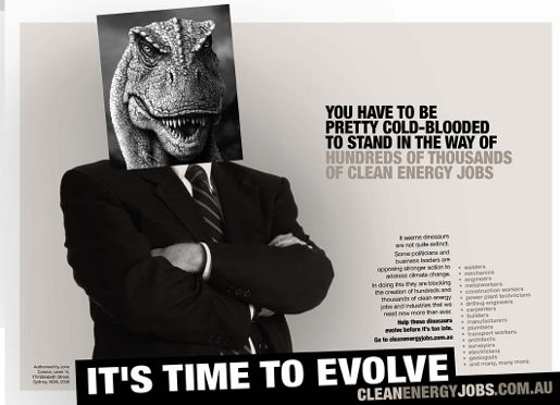 Time to Evolve - Climate Institute Dinsoaur print advertisement