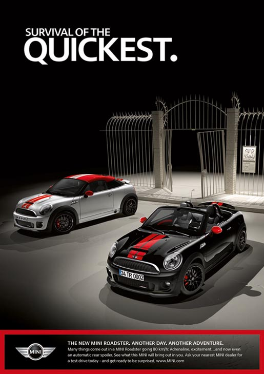 Mini Roadster print ad - Survival of the Quickest