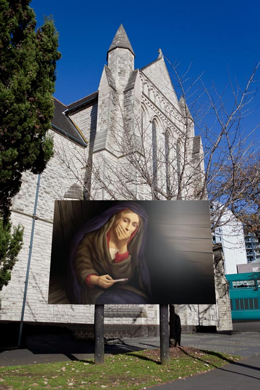 Mary is in the Pink - St Matthew in the City Billboard