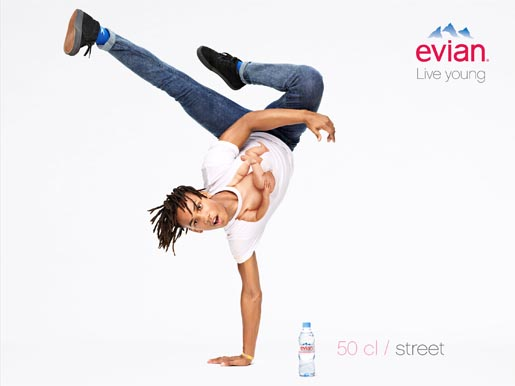 Evian Live Young Handstand