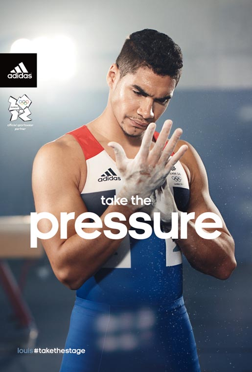 Adidas Take The Pressure print ad with Louis Smith