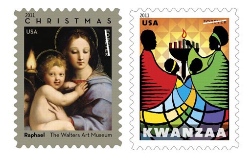 USA Christmas and Kwanzaa Stamps 2011