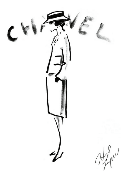 Karl Lagerfeld sketch of Coco Chanel