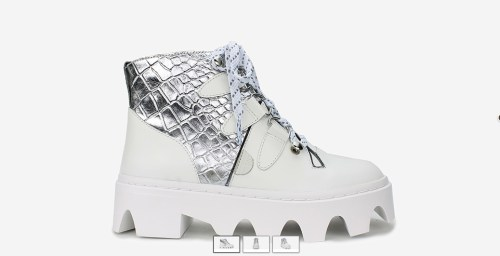 WHITE BOOT WITH SILVER